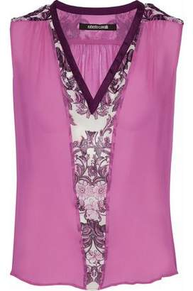 Roberto Cavalli Paneled Floral-Print Silk-Chiffon Blouse