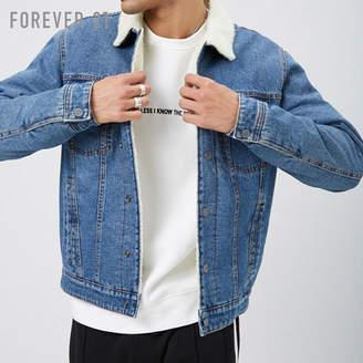 Forever 21 (フォーエバー 21) - Forever 21 [MEN]フェイクボアパファーデニムジャケット