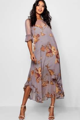 boohoo Boutique Fiona Floral Ruffle Maxi Dress