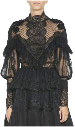 Amen Tulle And Lace Embroidered Blouse