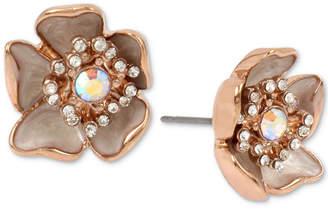 Betsey Johnson Rose Gold-Tone Crystal & Stone Flower Stud Earrings