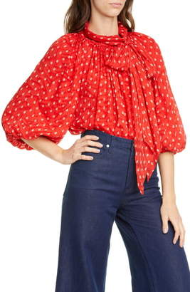 Rebecca Taylor Sunrise Dot Silk Blend Top