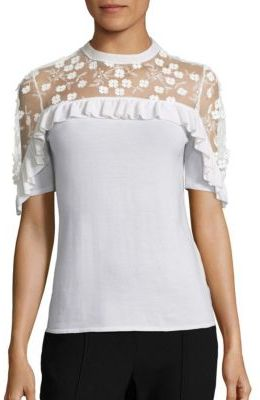 Elie Tahari Flora Ruffled Applique Merino Wool Sweater $298 thestylecure.com