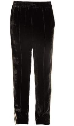 SERENA BUTE Contrast-striped straight-leg velvet trousers