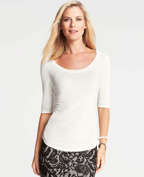 Ann Taylor Petite Side Ruched Scoop Neck Sweater