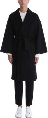 Theory Black Cashmere And Wool Coat