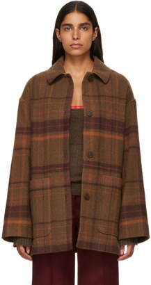Acne Studios Brown and Red Four-Button Coat