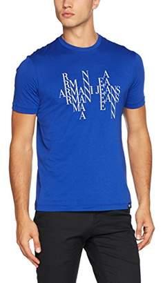 Armani Jeans Men's Block Letter Eagle Design Cotton T-Shirt