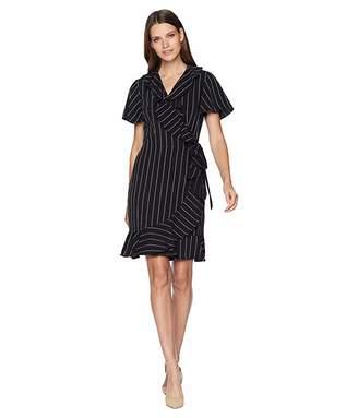 Tahari ASL Short Sleeve Stripe Smooth Crepe Wrap Dress