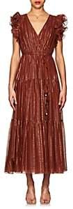 Ulla Johnson Women's Liliana Metallic-Striped Cotton-Blend Maxi Dress - Brown
