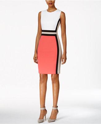 Calvin Klein Colorblocked Sheath Dress $134 thestylecure.com