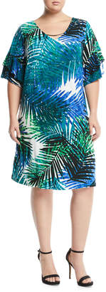 Iconic American Designer Palm-Leaf Print Tiered Sleeve Necklace Shift Dress, Plus Size