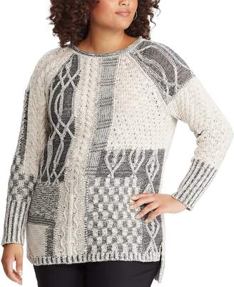 Chaps Plus Size Leaf Stitch Sweater