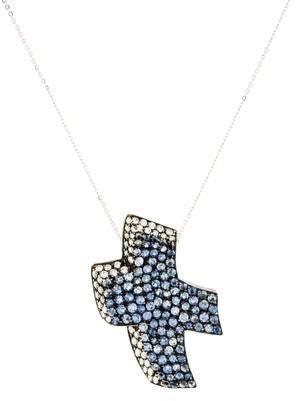 Diamond & Sapphire Cross Pendant Necklace