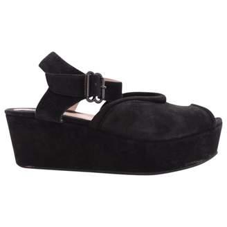 Carven Black Suede Sandals