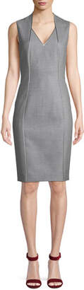 Elie Tahari Wendolyn V-Neck Sleeveless Wool Sheath Dress