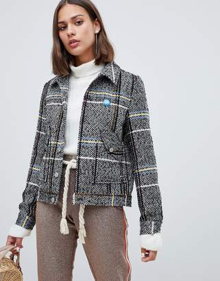 Maison Scotch short wool belted worker jacket in check