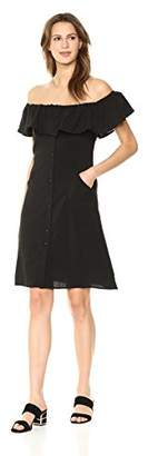Lucca Couture Women's Josephine OTS Ruffle Button Front Dress