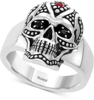 Effy Men's Ruby (1/10 ct. t.w.) & Diamond Accent Skull Ring in Sterling Silver