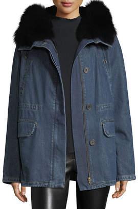 Yves Salomon - Army Fur-Trim Cotton Parka Coat