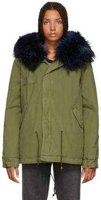 Mr & Mrs Italy Green and Blue Quilted Fur Jacket