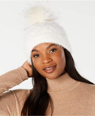 Echo Fuzzy Cable-Knit Pom Pom Hat