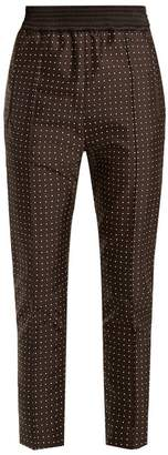 Haider Ackermann Soens Polka Dot Embroidered Silk Blend Trousers - Womens - Black Multi