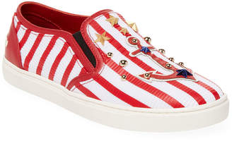 Dolce & Gabbana Striped Nautical Leather Sneaker