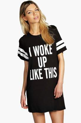 boohoo 'I Woke Up Like This' Oversized Sleep Tee