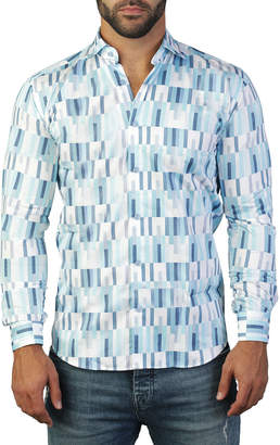 Maceoo Shaped-Fit Luxor Geometric Verticality Sport Shirt