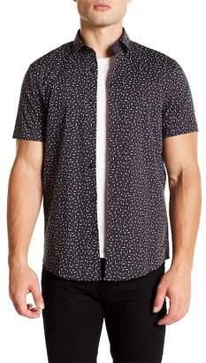 CALIBRATE Short Sleeve Black Triangle Speck Print Slim Fit Shirt