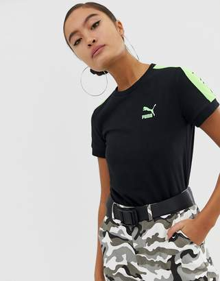 Puma Classics Tight Black And Neon Green T-Shirt