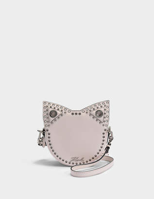 Karl Lagerfeld Rocky Choupette Tambour Crossbody Bag in Light Rose Smooth Calf Leather