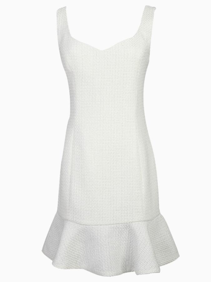 Choies White Sleeveless Bodycon Dress with Ruffle Hem and V Back
