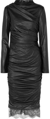 Tom Ford Lace-trimmed Cutout Ruched Faux Leather Dress - Black