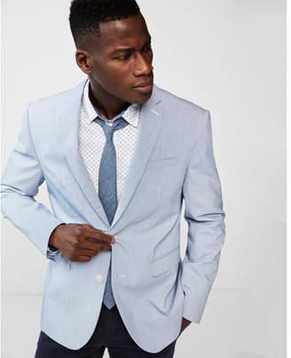 Express slim light blue cotton blend stripe stretch blazer