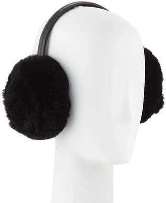Adrienne Landau Petal Rosette Rabbit Fur Earmuffs, Black