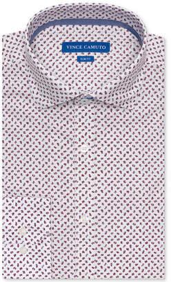 Vince Camuto Men Slim-Fit Comfort Stretch Burgundy Floral Print Dress Shirt