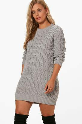 boohoo Plus Cable Knitted Jumper Dress
