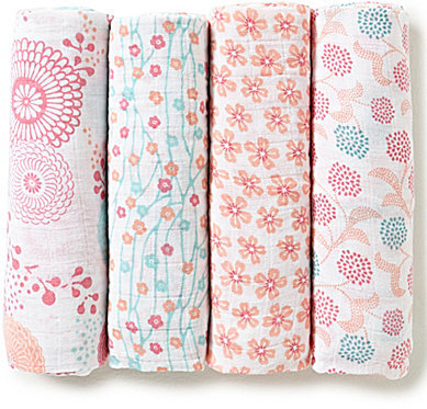 Aden AnaisAden + Anais Baby Girls Tea Global Garden 4-Pack Muslin Swaddle Blankets