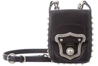 Miu Miu Embellished Leather Crossbody Bag Black Embellished Leather Crossbody Bag