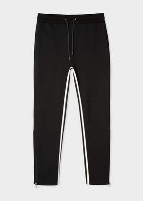 Paul Smith Men's Black Cotton-Viscose Panelled Stripe Sweatpants