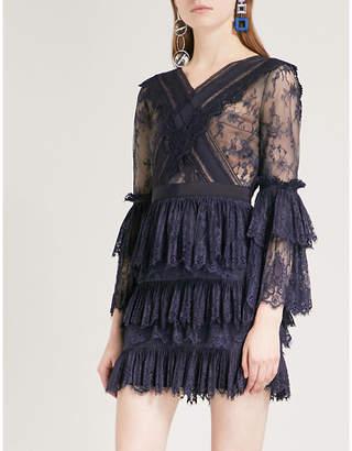 Self-Portrait Trimmed Fine Lace mini dress