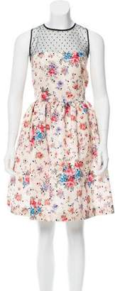 RED Valentino Lace-Accented Printed Dress w/ Tags