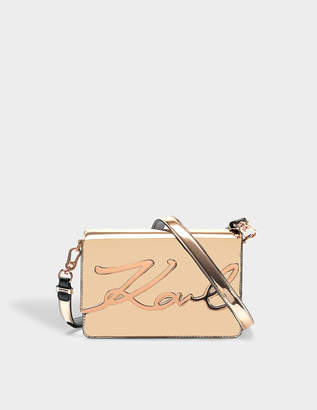 Karl Lagerfeld K/Signature Gloss Shoulder Bag in Gold Eco Leather