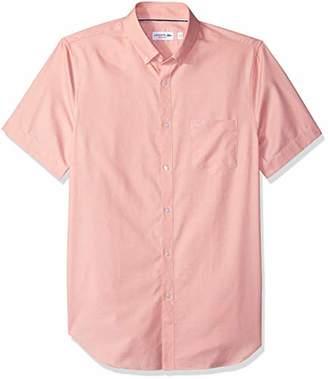 Lacoste Men's Short Sleeve with Pocket Mini Pique Regular Fit Woven Shirt
