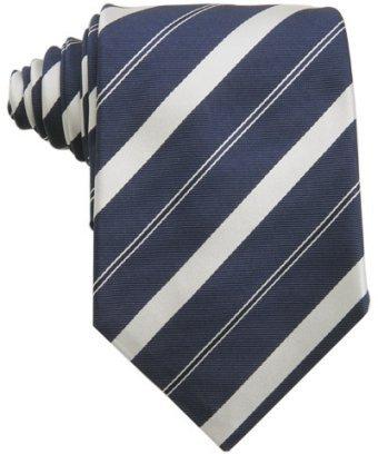 Zegna navy silver striped silk grosgrain tie