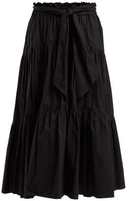 Proenza Schouler Cotton Tiered Midi Skirt - Womens - Black