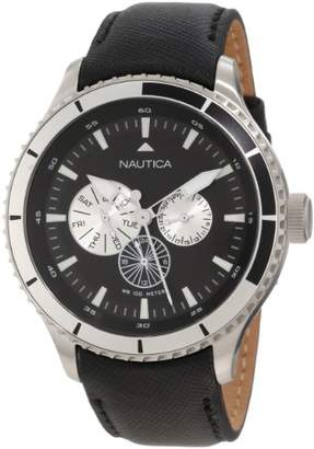 Nautica Men's 'BFD 200 Multi 50MM' Quartz Stainless Steel and Leather Casual Watch