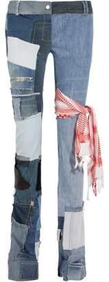 Ronald Van Der Kemp Distressed Patchwork Low-Rise Bootcut Jeans